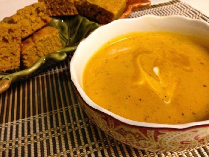 The flavors of fall come together in this deliciously healthy Roasted Red Pepper and Butternut Soup... ZagLeft