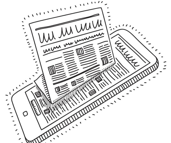 illustration of newspapers and tablet news