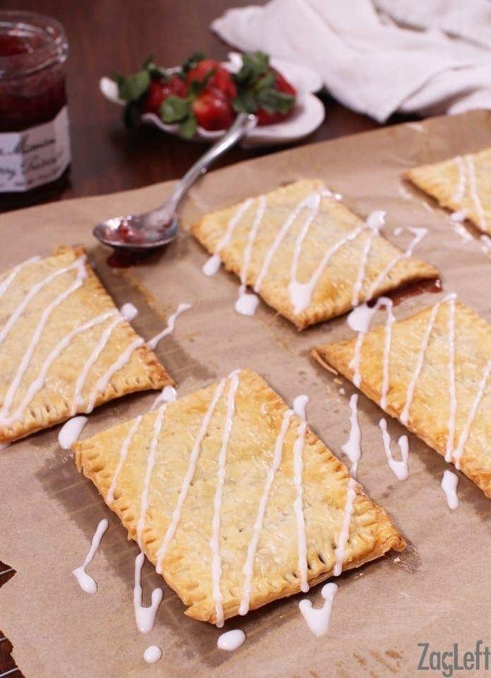 Adding a glaze zig-zag to homemade toaster pastries