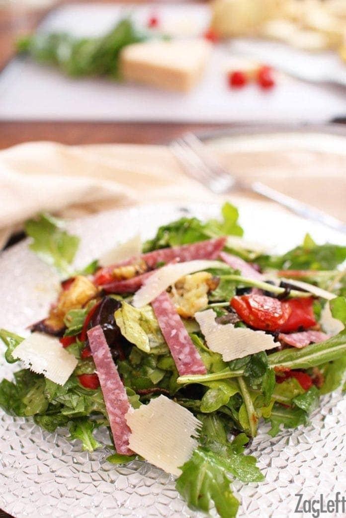 antipasto salad made with spinach | one dish kitchen