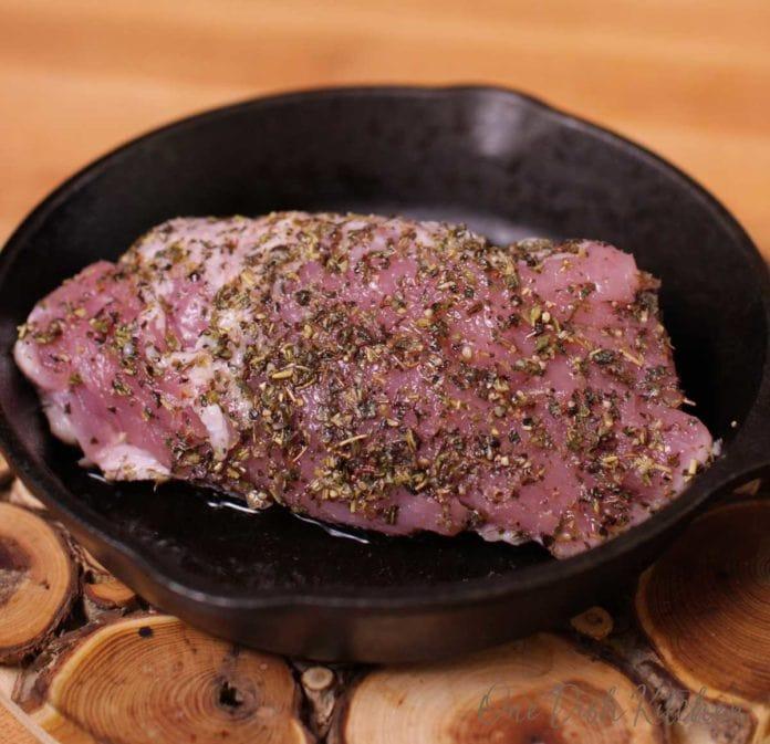 pork tenderloin in a skillet | one dish kitchen
