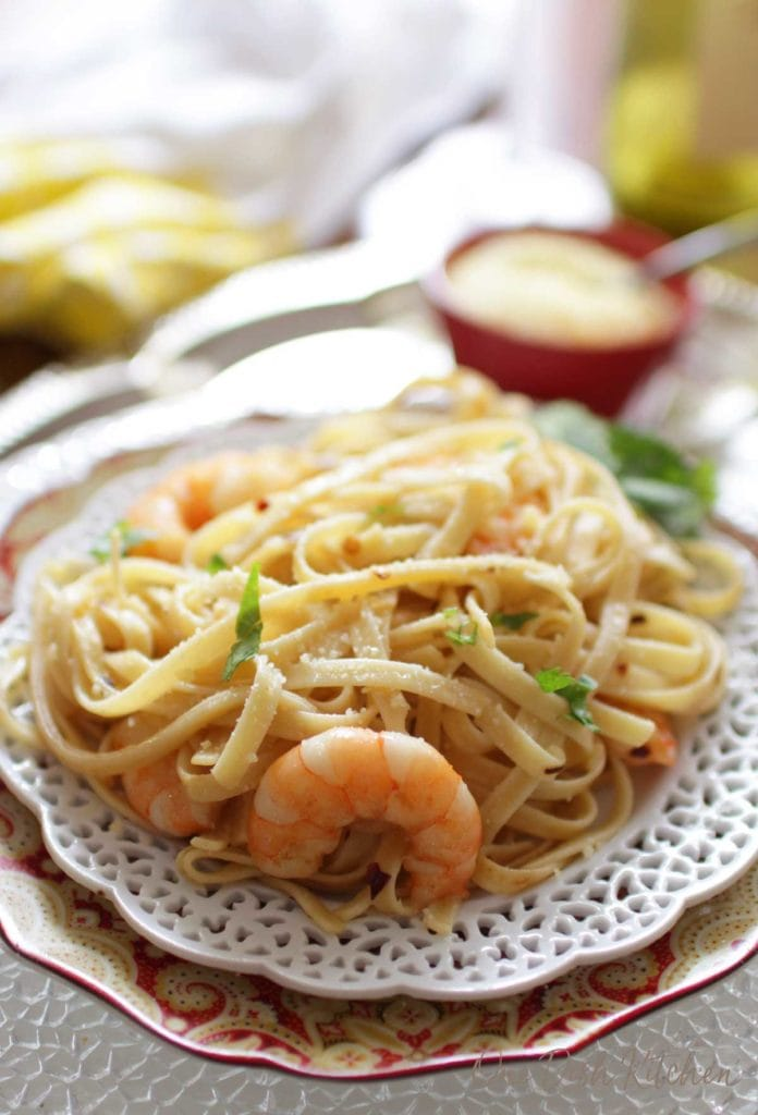a plate of shrimp fettuccine | one dish kitchen