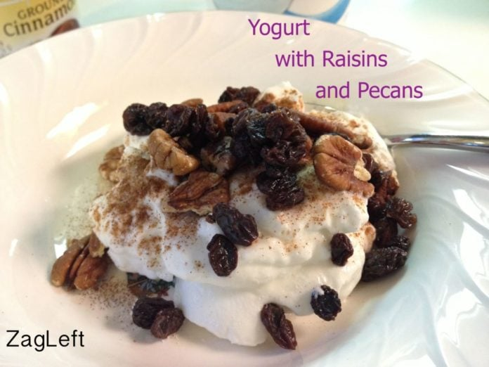 Yogurt with raisins and pecans from zagleft