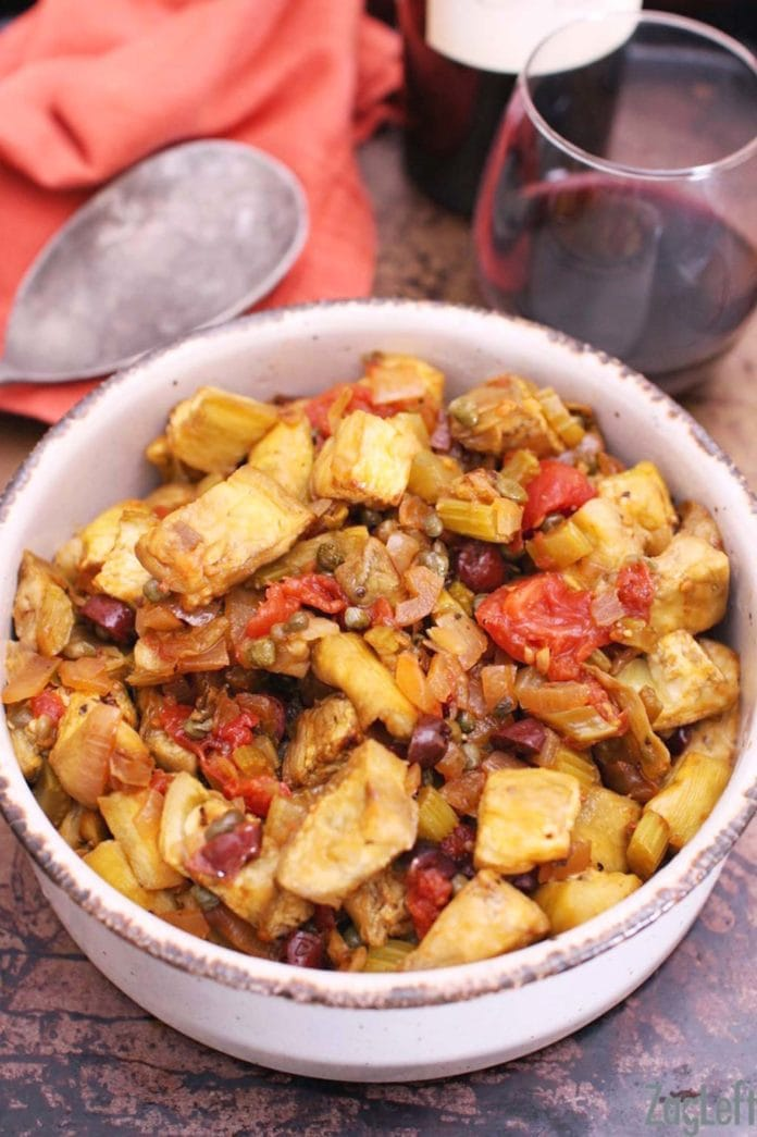 Caponata, a wonderful dish from southern Italy made with a lovely assortment of fresh vegetables, including eggplant. Serve warm or cold, Caponata is perfect as a salad or an appetizer. | www.zagleft.com