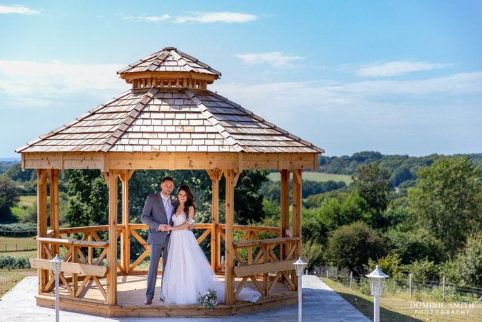 Wedding Couple Photo at the new Gazebo at Blackstock Country Estate