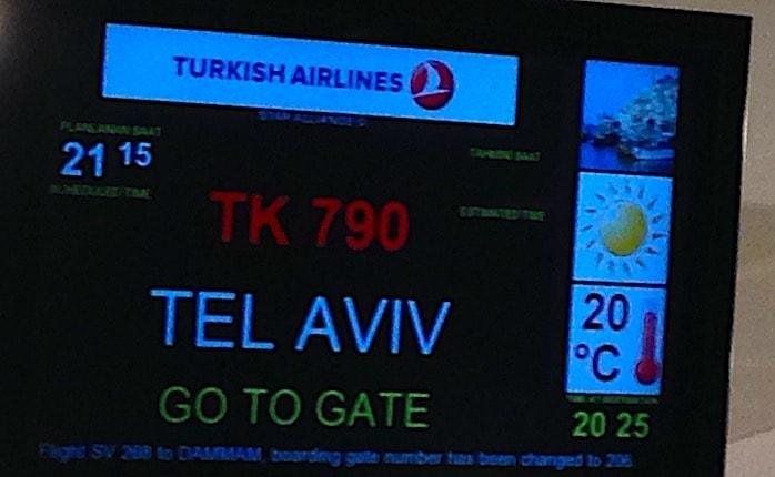 テルアビブ行きのゲート表示画像