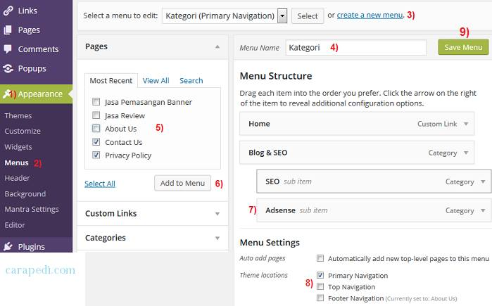 cara membuat menu dropdown pada bar wordpress
