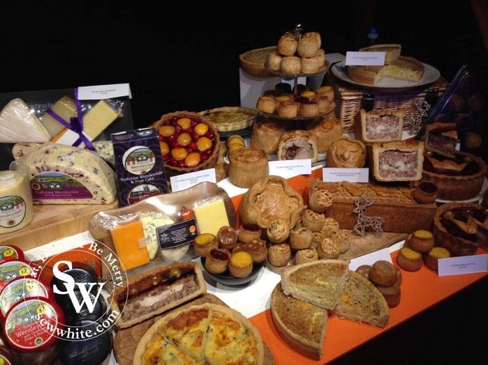 Morrison's Christmas Showcase of pies and cheeses