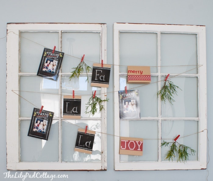 Christmas Card Display with old windows