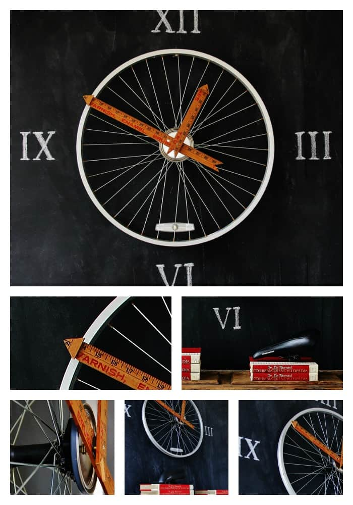 Display your finished bicycle wheel clock with yardstick hands on the wall.