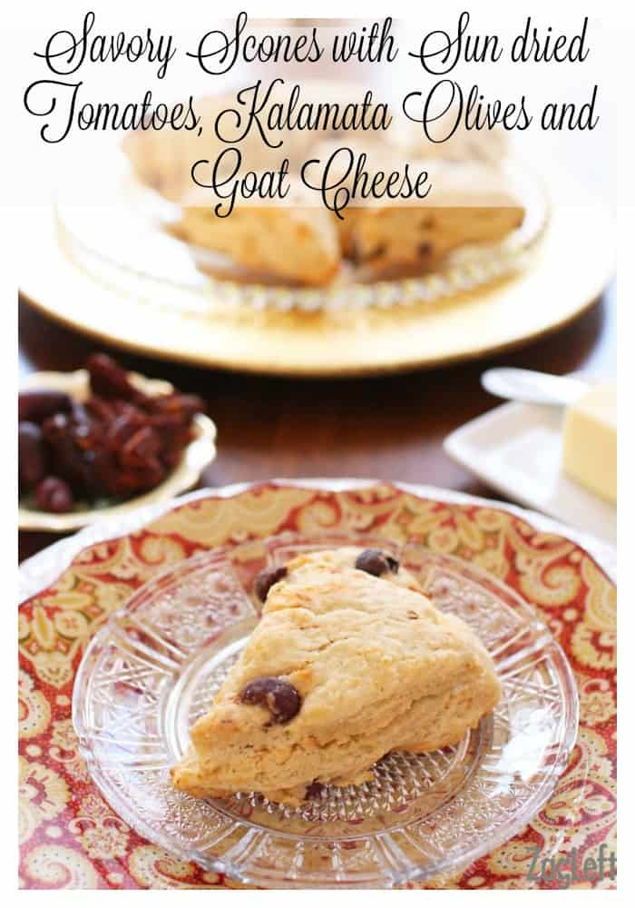 Savory Scones with Sun dried Tomatoes, Olives and Goat Cheese | www.zagleft.com
