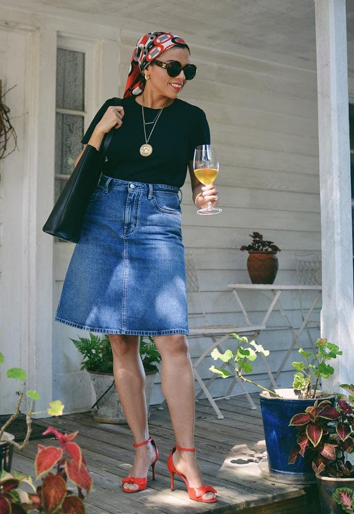 Wearing a denim skirt for a night out | 40plusstyle.com