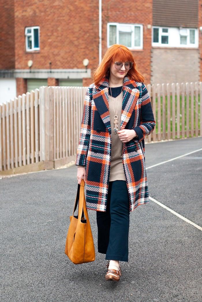 Catherine wearing plaid coat | 40plusstyle.com