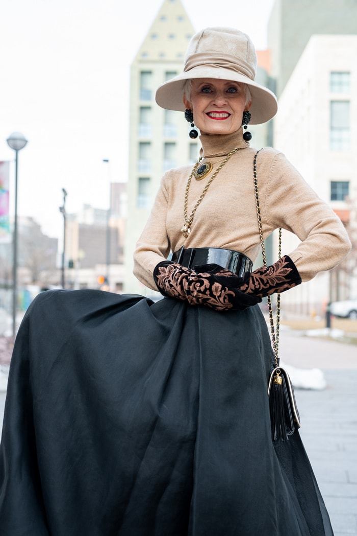 Judith in maxi skirt and nude tops and hat | 40plusstyle.com