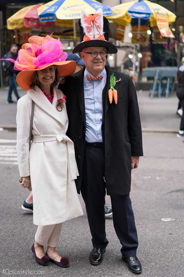 An elegant white coat nicely paired with a vibrant hat! - Easter Parade outfits | 40plusstyle.com