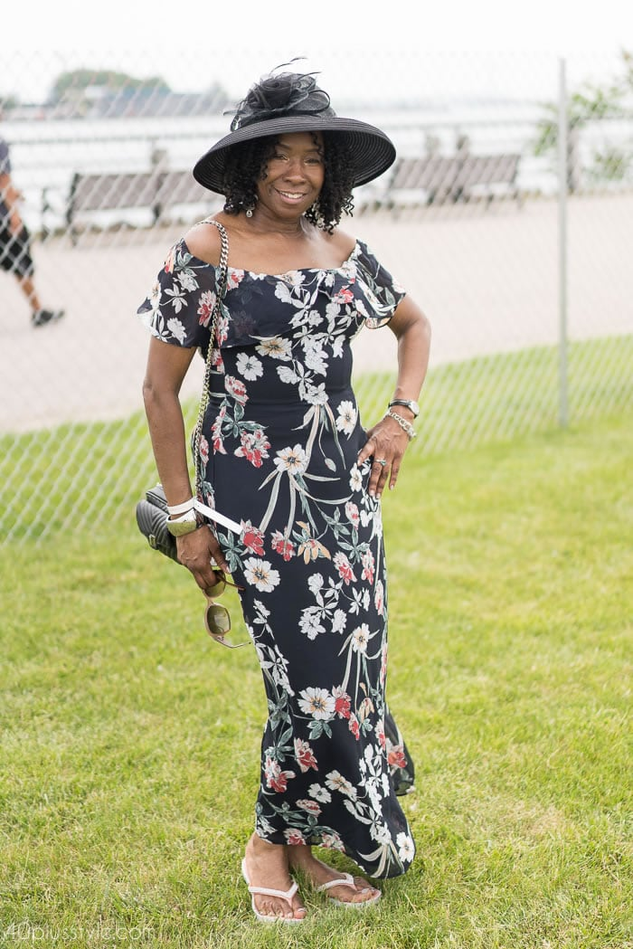 Maxi dress at the Veuve Clicquotpolo classic 2018 | 40plusstyle.com