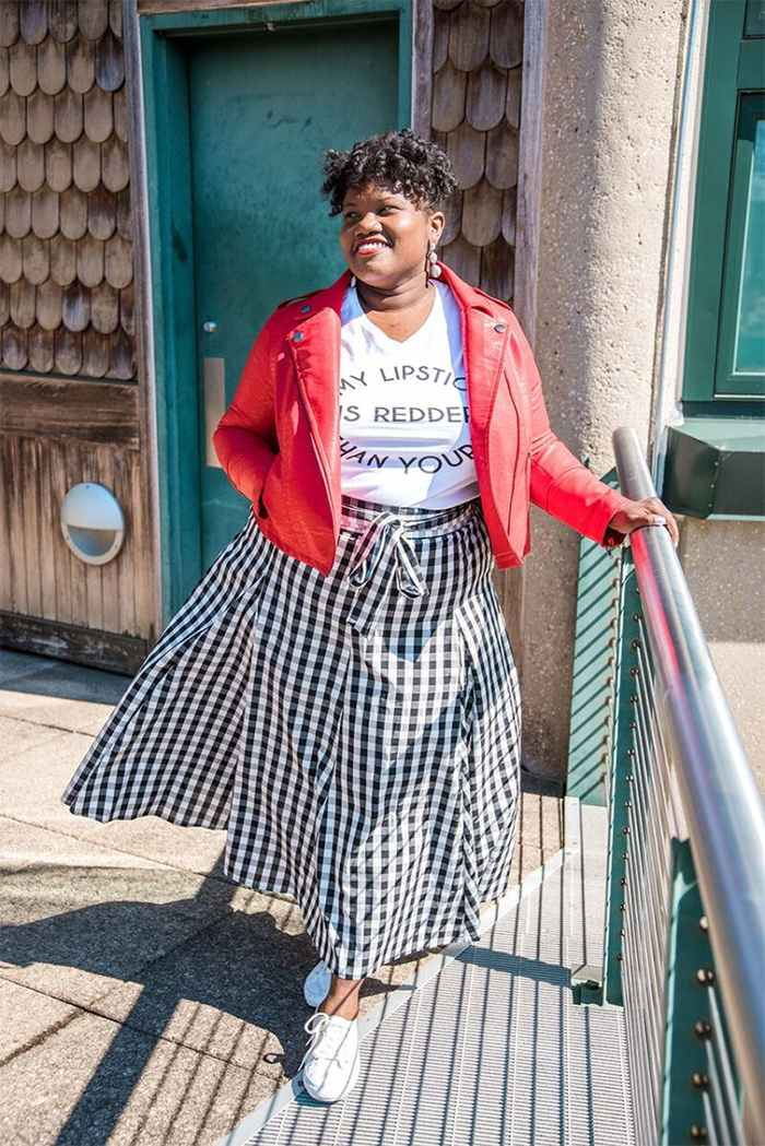 Georgette from Grown and Curvy Women is wearing White Tops over Red Leather Jacket and Checkered Skirt | fashion over 40 | 40plusstyle