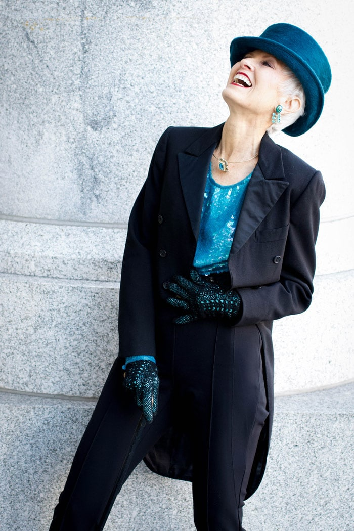 Judith in coat and blue accessories | 40plusstyle.com