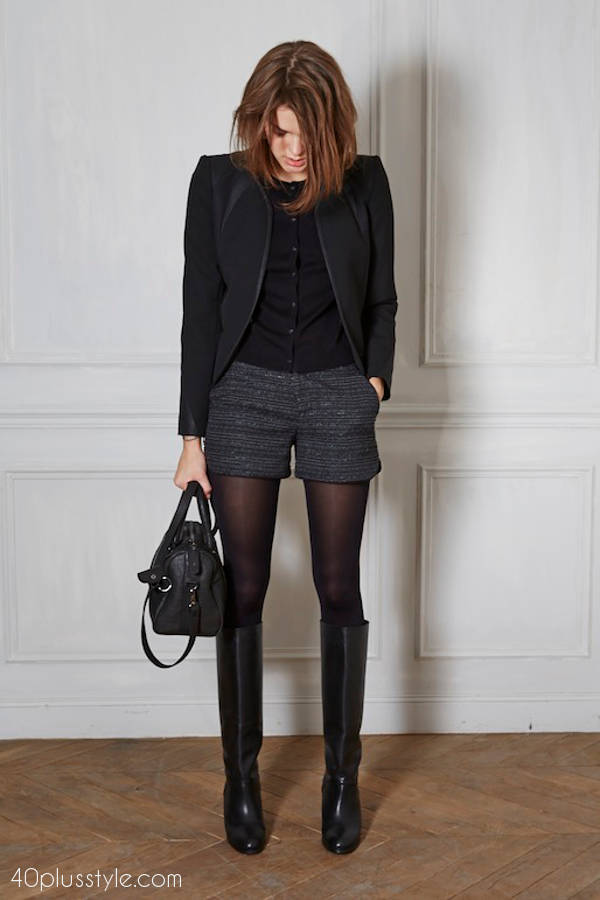 dressy shorts and tights | fashion over 40 | style | fashion | 40plusstyle.com