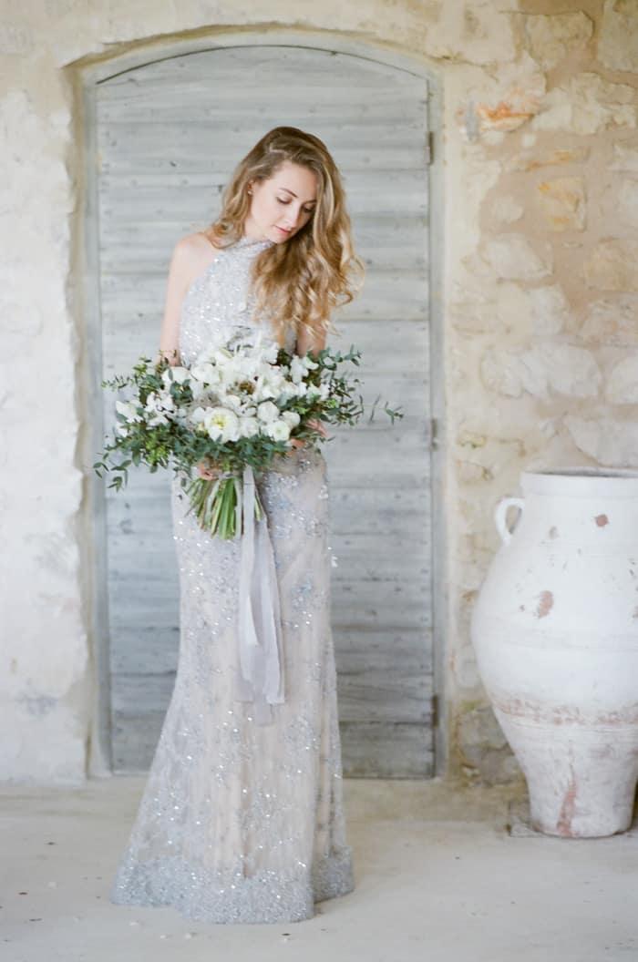 Engaged Bride With Her Bouquet At Le Clos Saint Esteve At Tamara Gruner Workshops