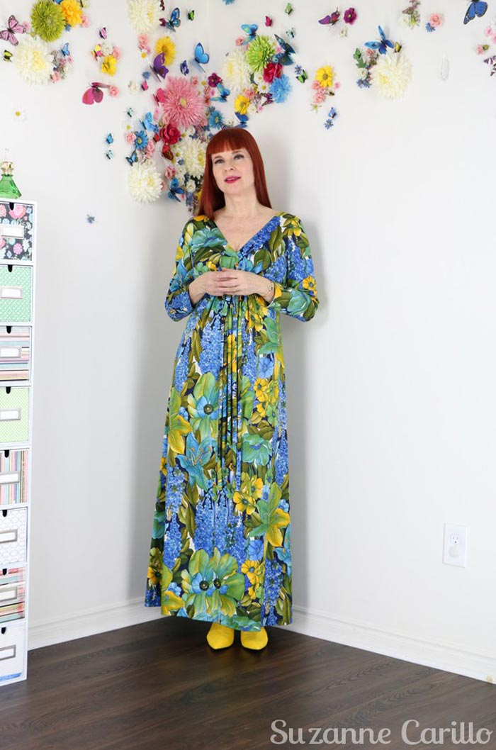 Suzanne wearing a floral maxi dress | 40plusstyle.com