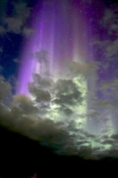 紫のオーロラ画像