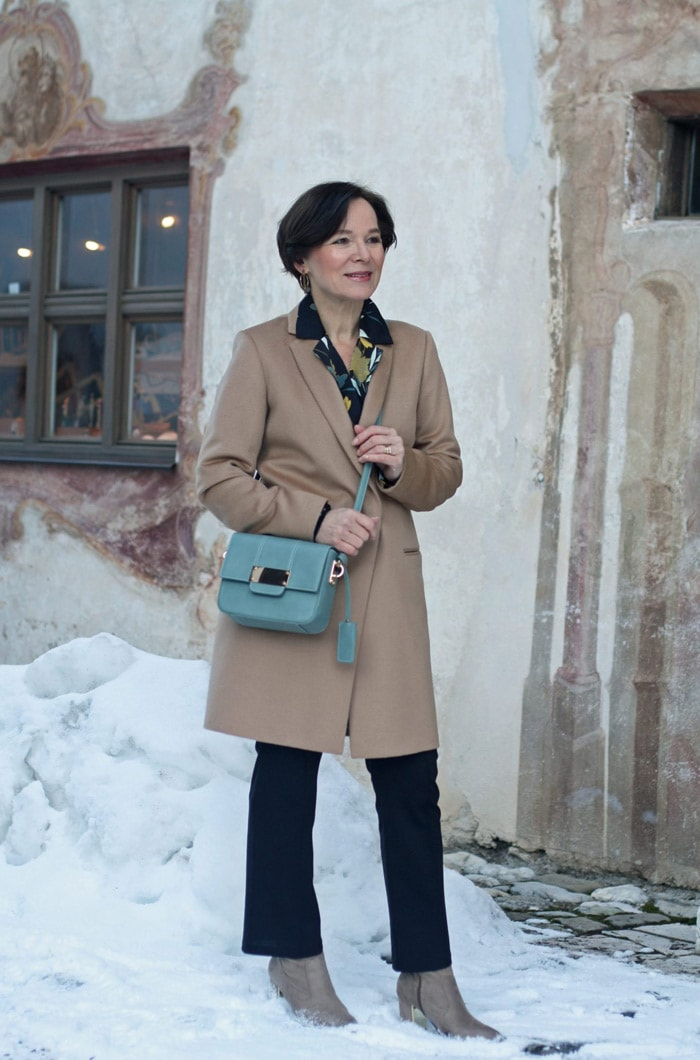 Annette Wearing Long Brown Coat and Pants | 40plusstyle.com
