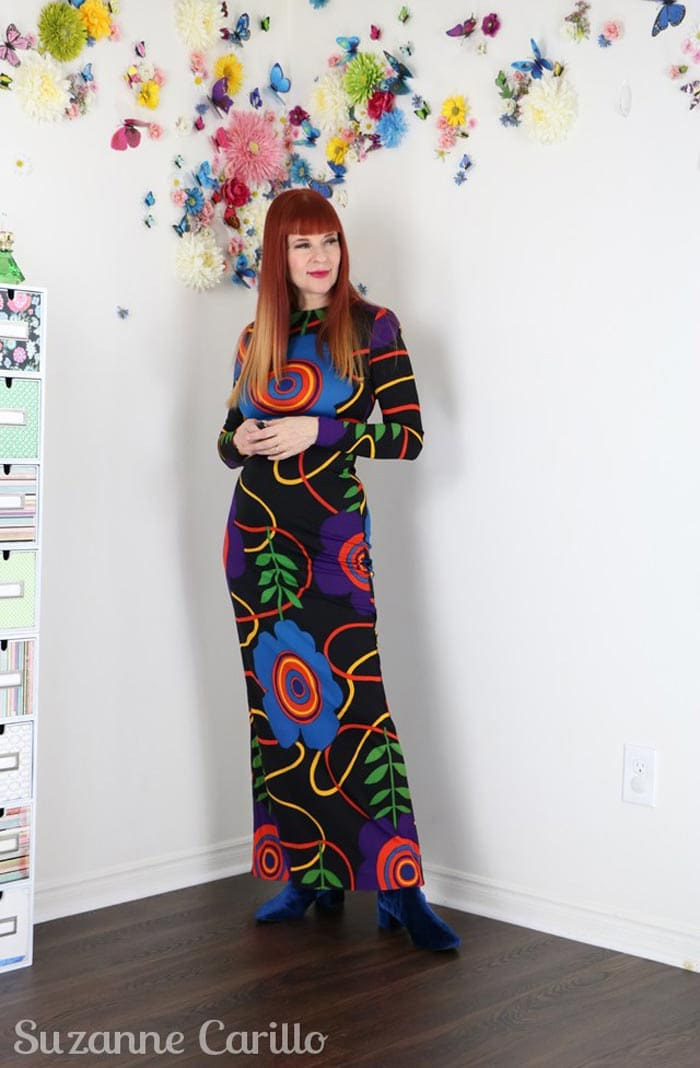 Suzanne wearing a printed maxi dress | 40plusstyle.com