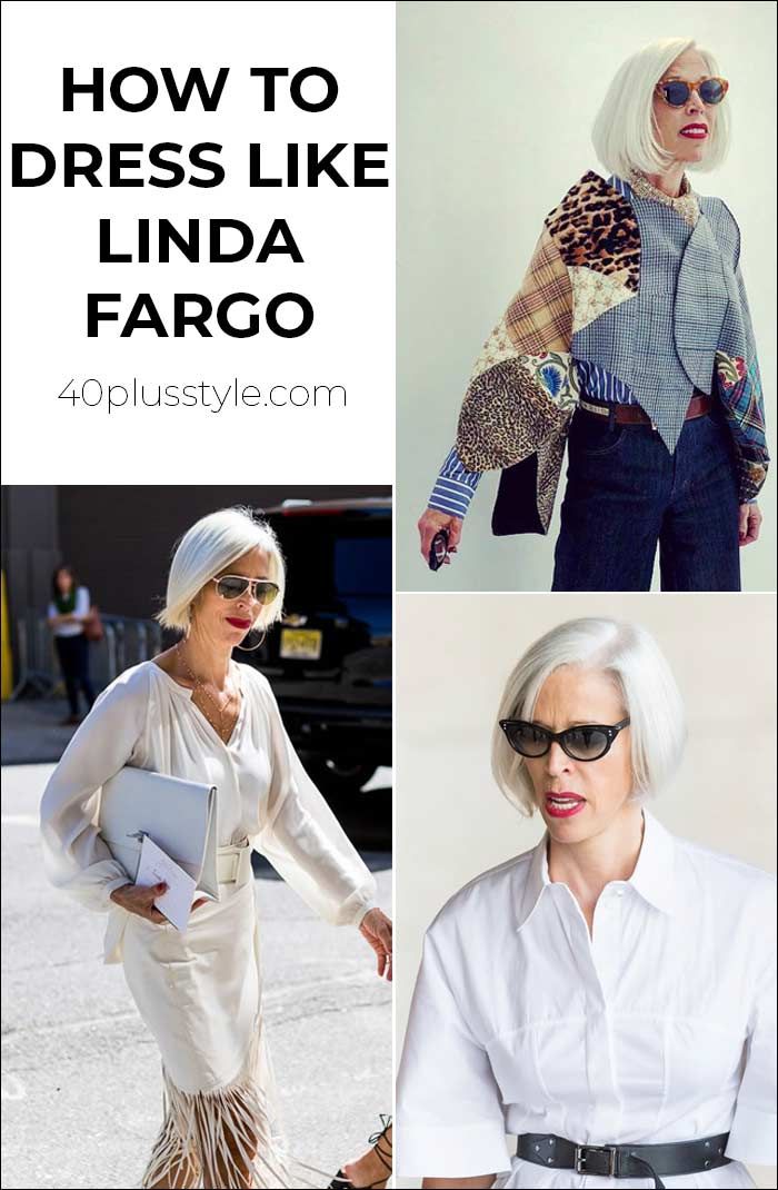 How to dress like Linda Fargo | 40plusstyle.com