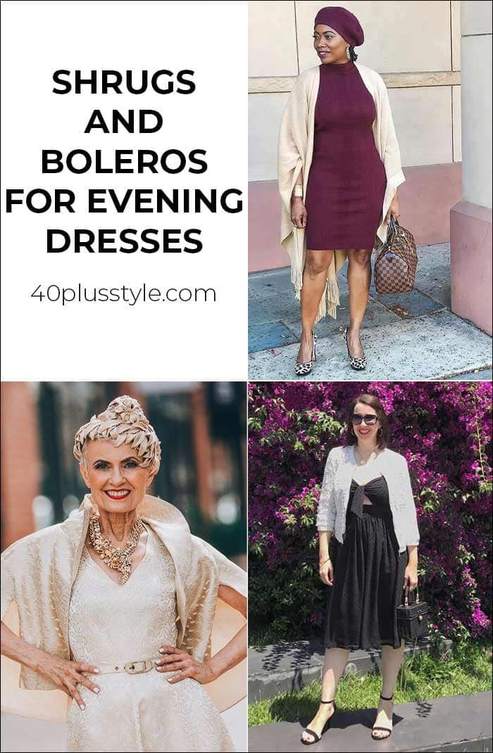 Shrugs and boleros for evening dresses: 12 stylish party cover up ideas | 40plusstyle.com
