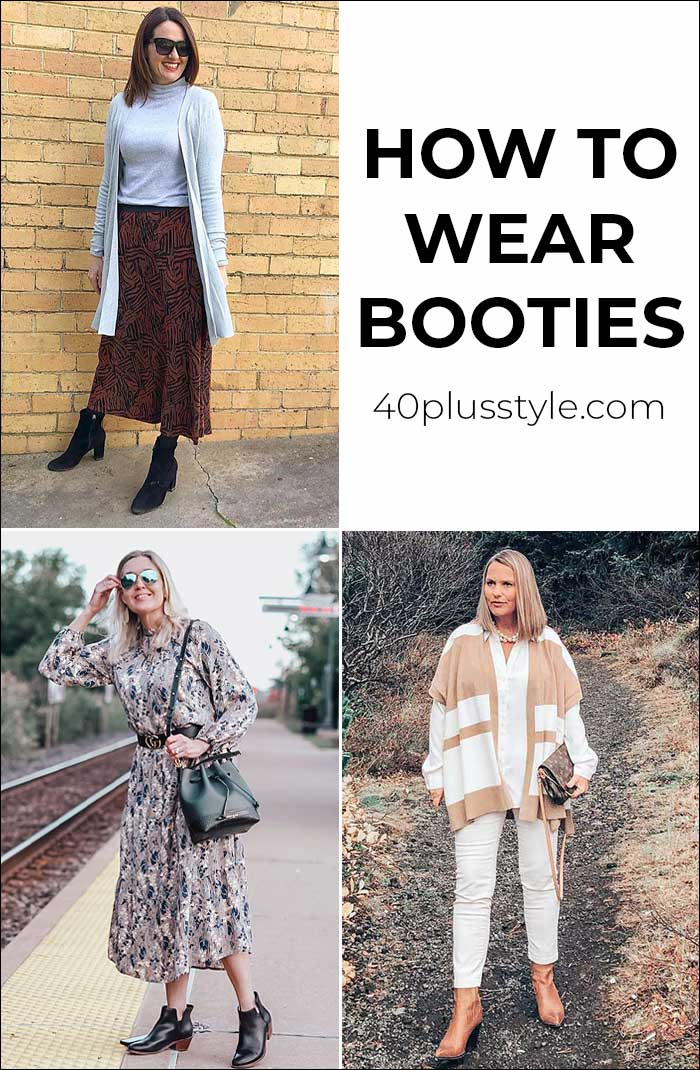 How to wear booties with skirts, dresses and pants - we show you 12 chic ankle boots outfit ideas | 40plusstyle.com