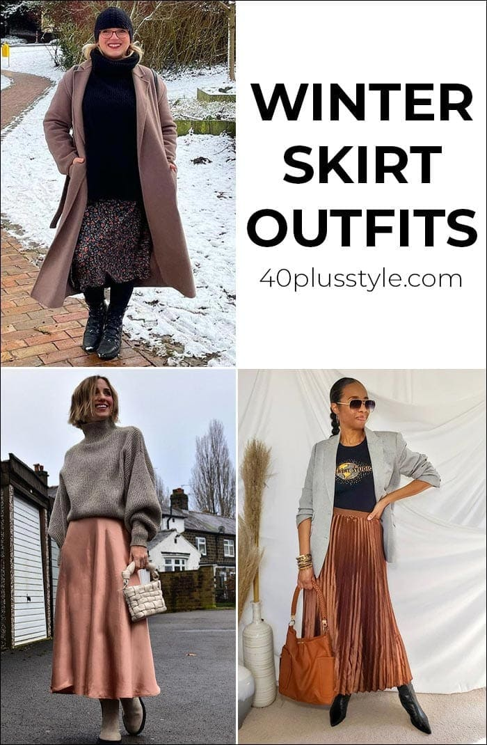 Winter skirt outfits - how to style your skirts in colder weather | 40plusstyle.com