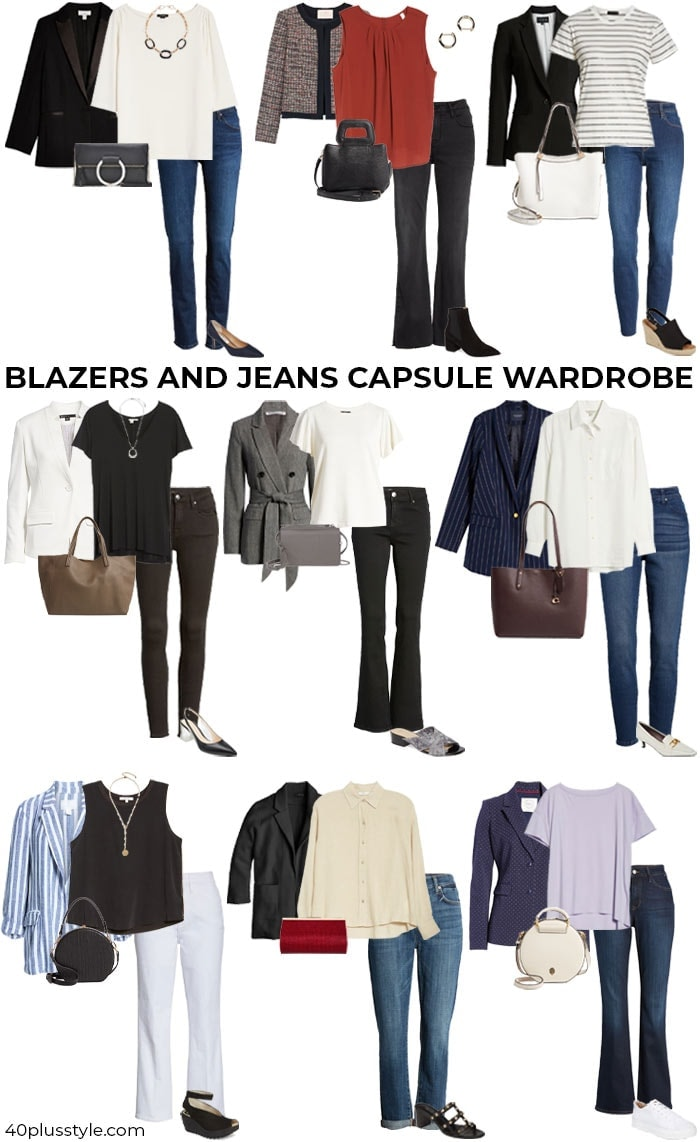 A blazer and jeans capsule wardrobe | 40plusstyle.com