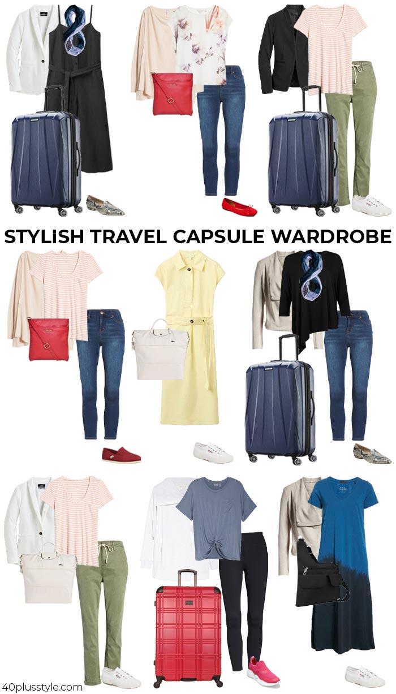 Stylish travel capsule wardrobe | 40plusstyle.com