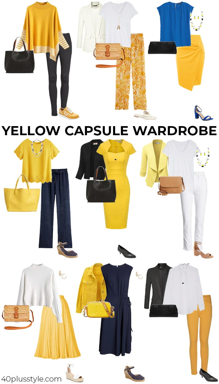 Blue and yellow outfits | 40plusstyle.com