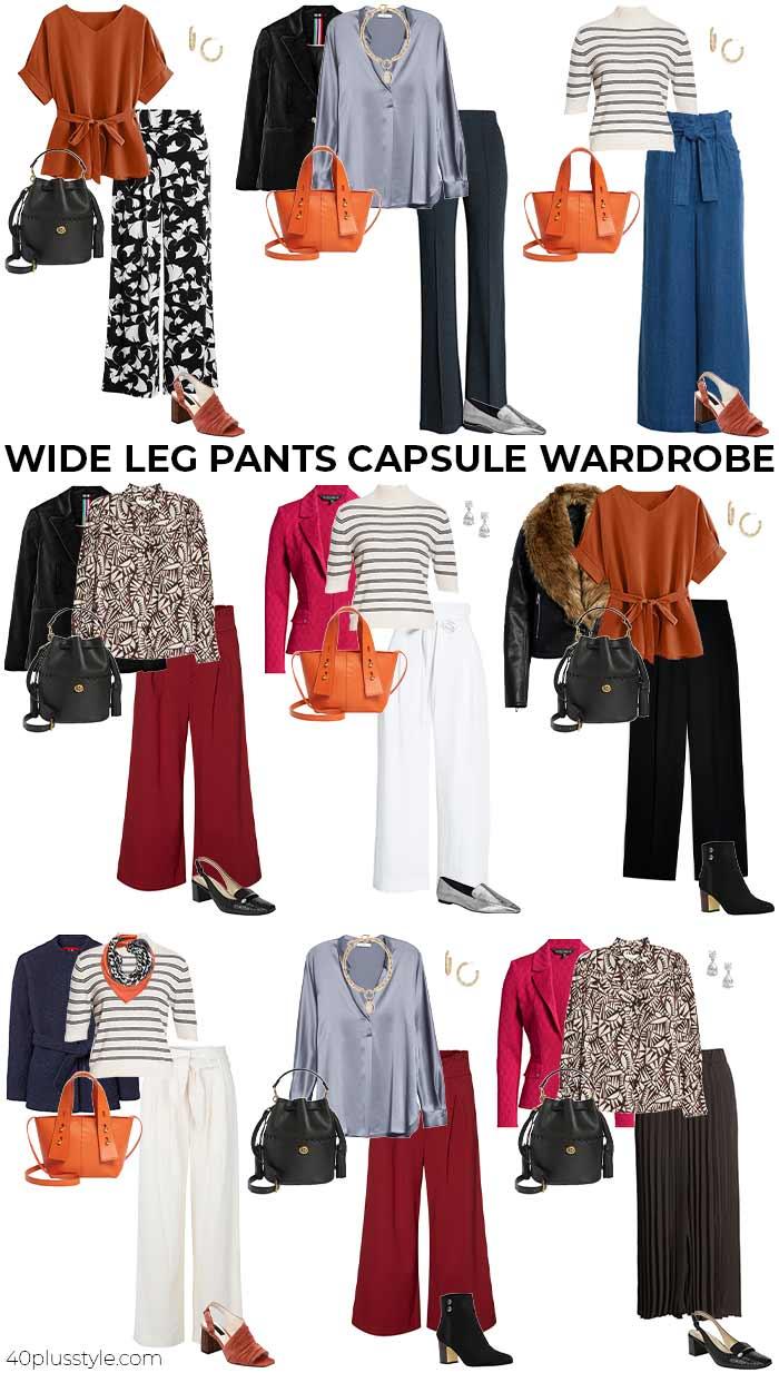 wide leg pants capsule wardrobe | 40plusstyle.com