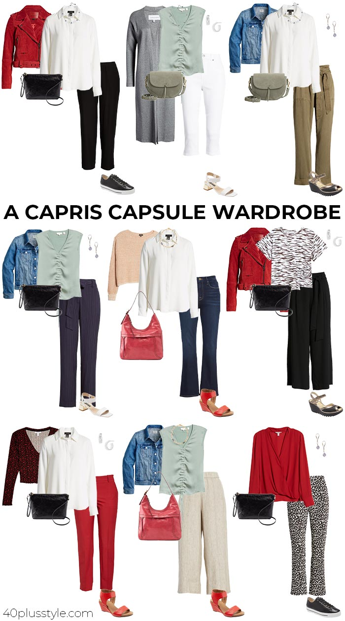 Capris pants capsule wardrobe | 40plusstyle.com