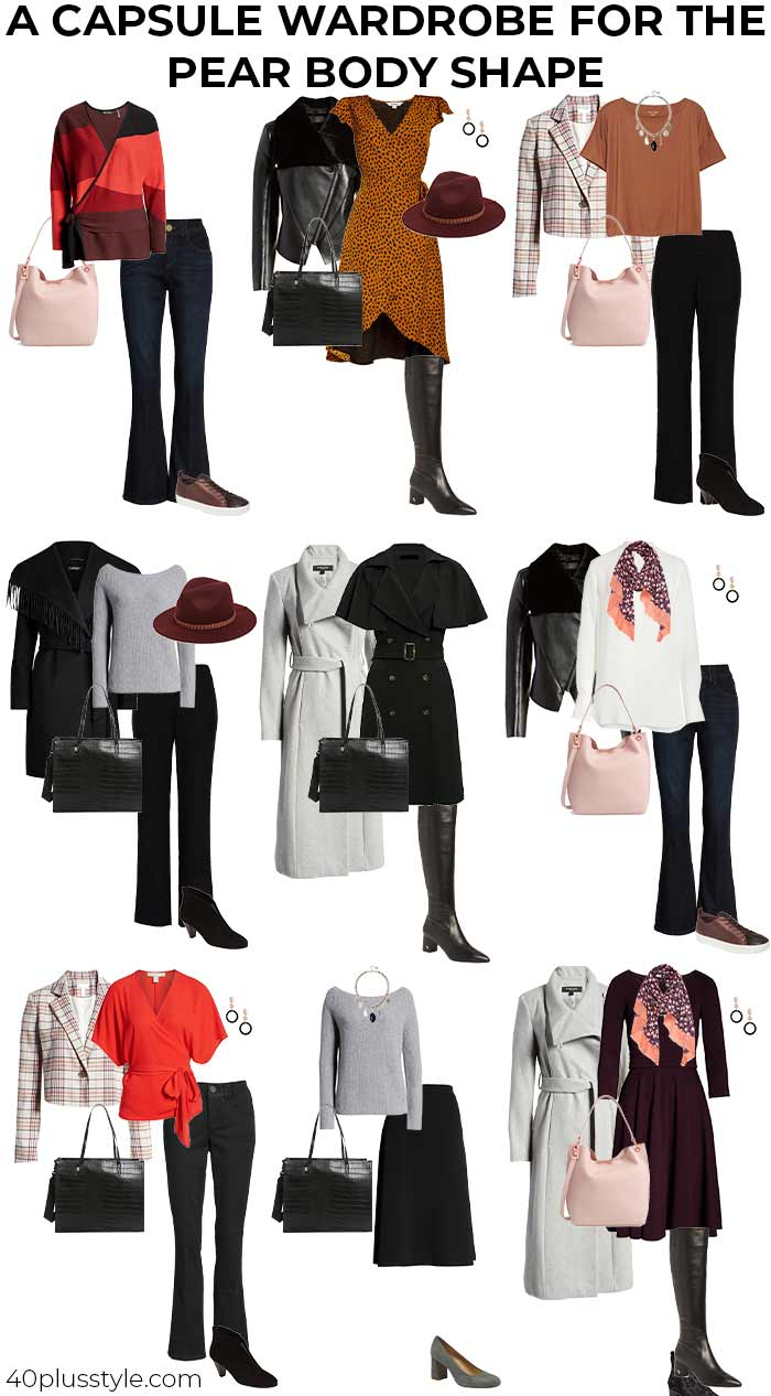 A capsule wardrobe on how to dress a pear body shape | 40plusstyle.com