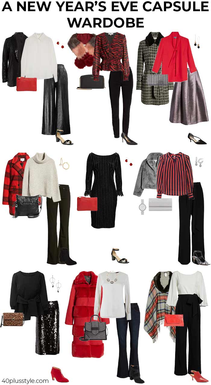 New Year's Eve outfits capsule wardrobe | 40plusstyle.com