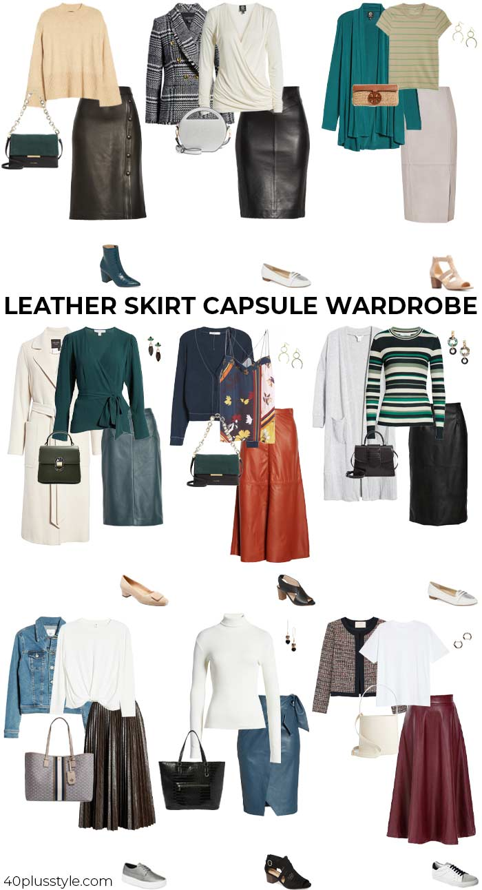 A capsule wardrobe on how to wear a leather skirt | 40plusstyle.com