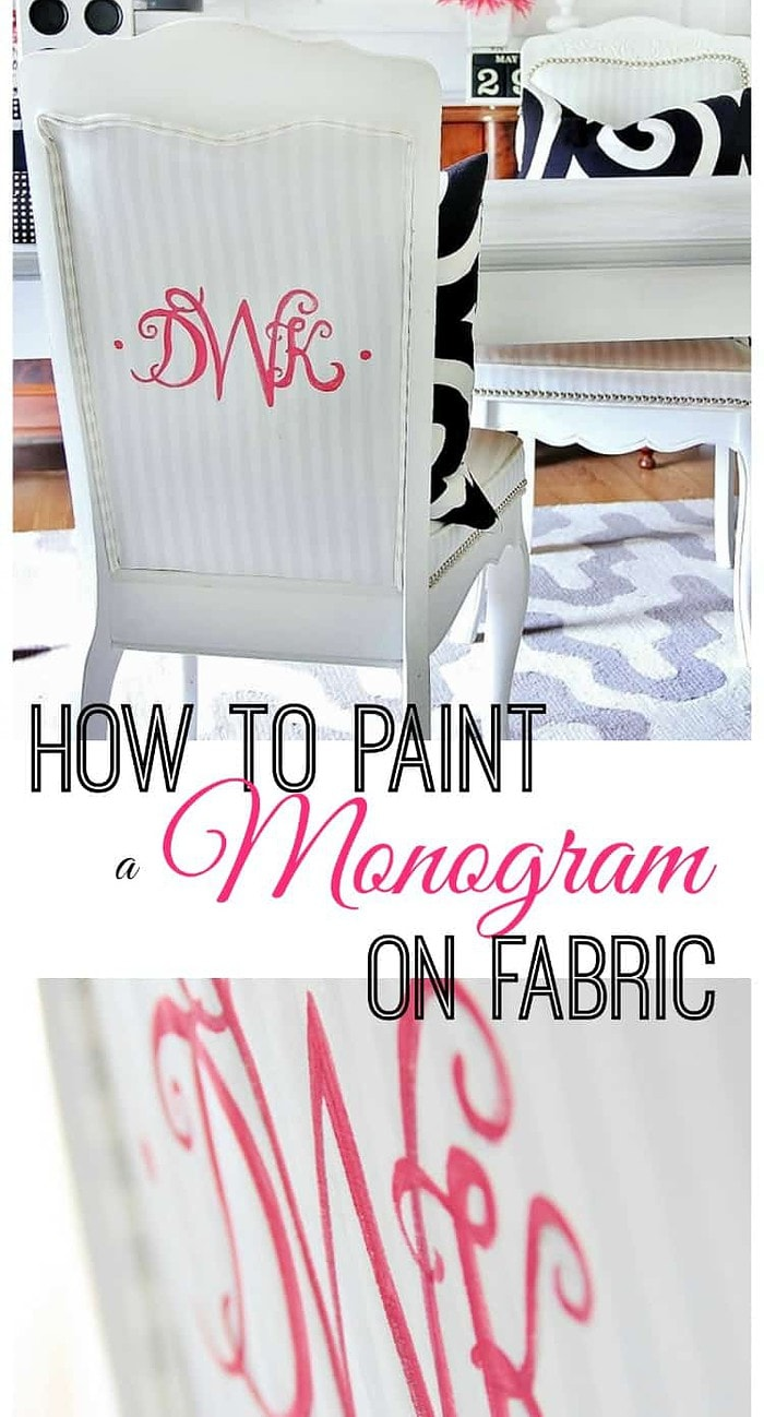 Here's how to paint a monogram on fabric- so easy!