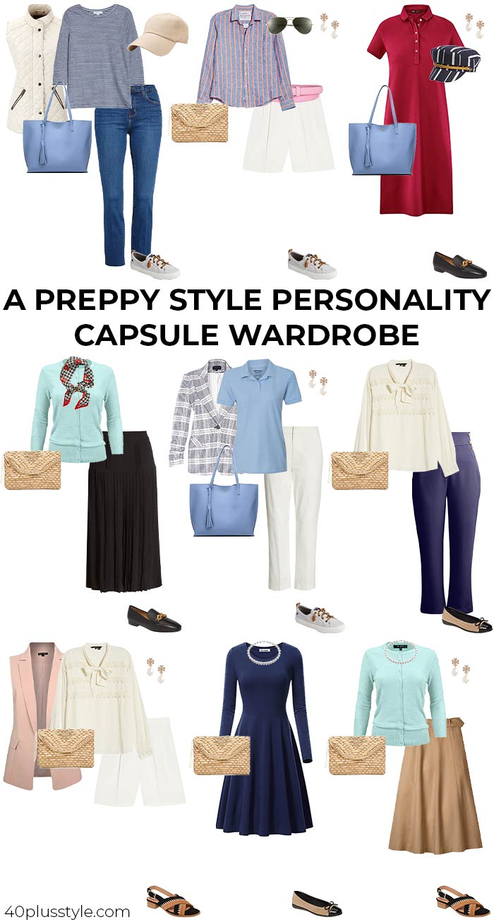 A capsule wardrobe for the PREPPY style personality | 40plusstyle.com