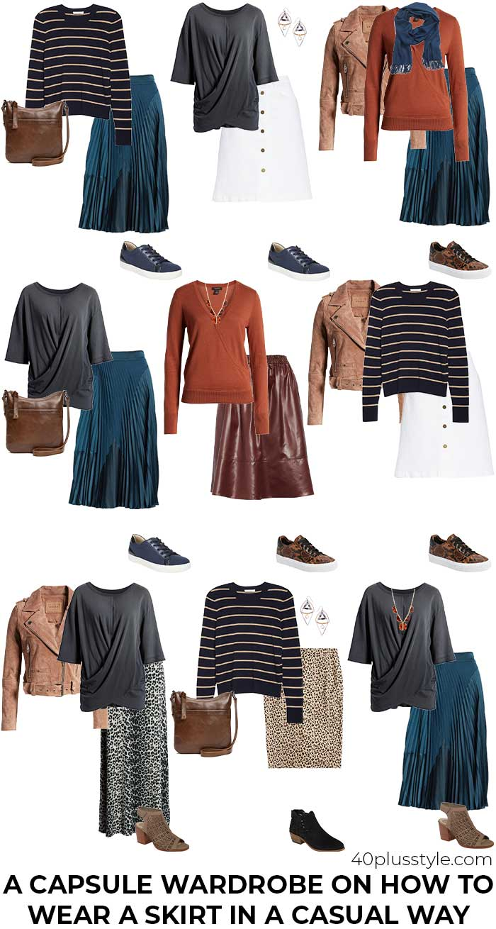 Capsule wardrobe on how to wear a skirt in a casual chic way | 40plusstyle.com