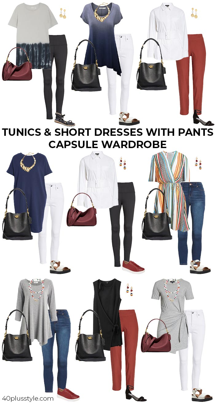 A capsule wardrobe on how to wear tunics or short dresses over pants | 40plusstyle.com
