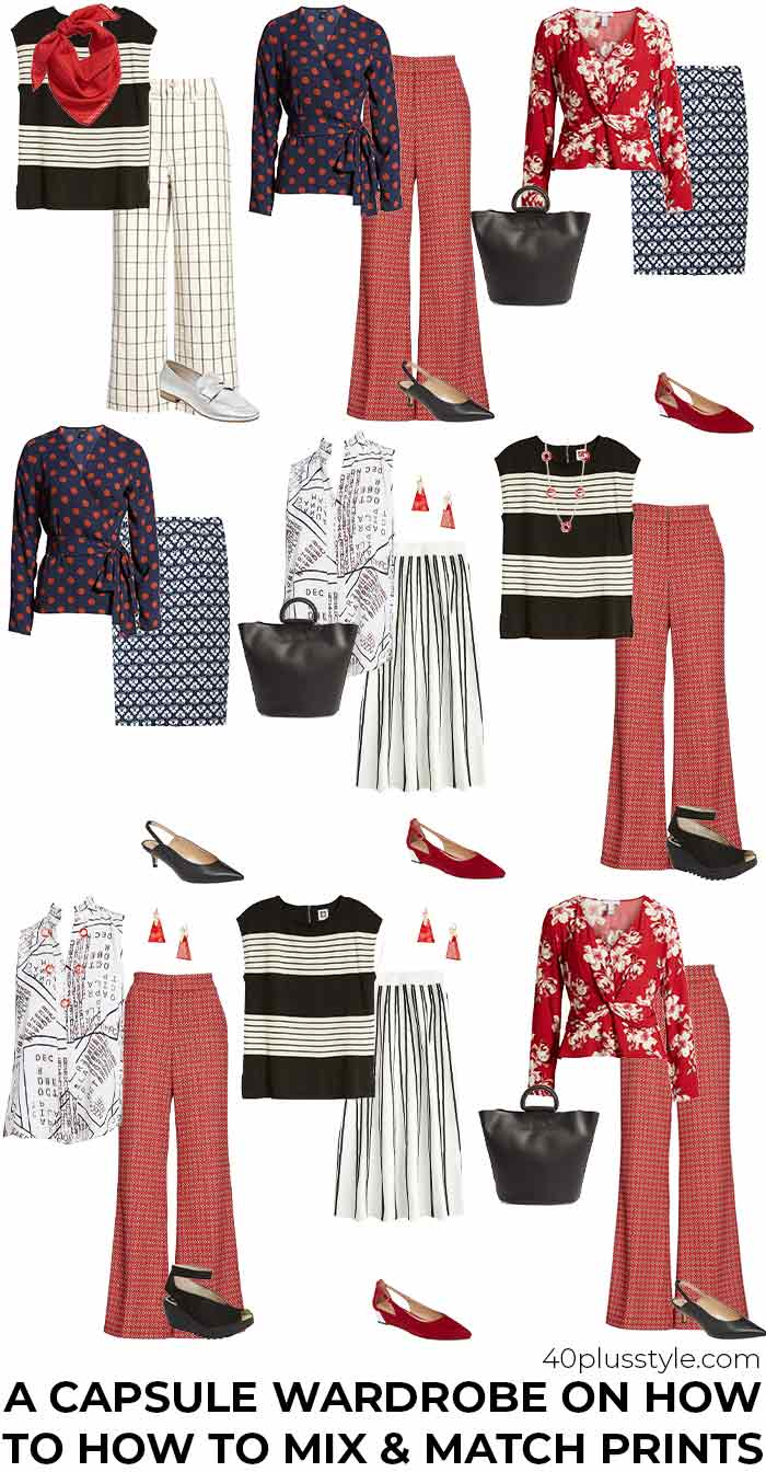 Capsule wardrobe on how to mix prints and patterns like an expert | 40plusstyle.com
