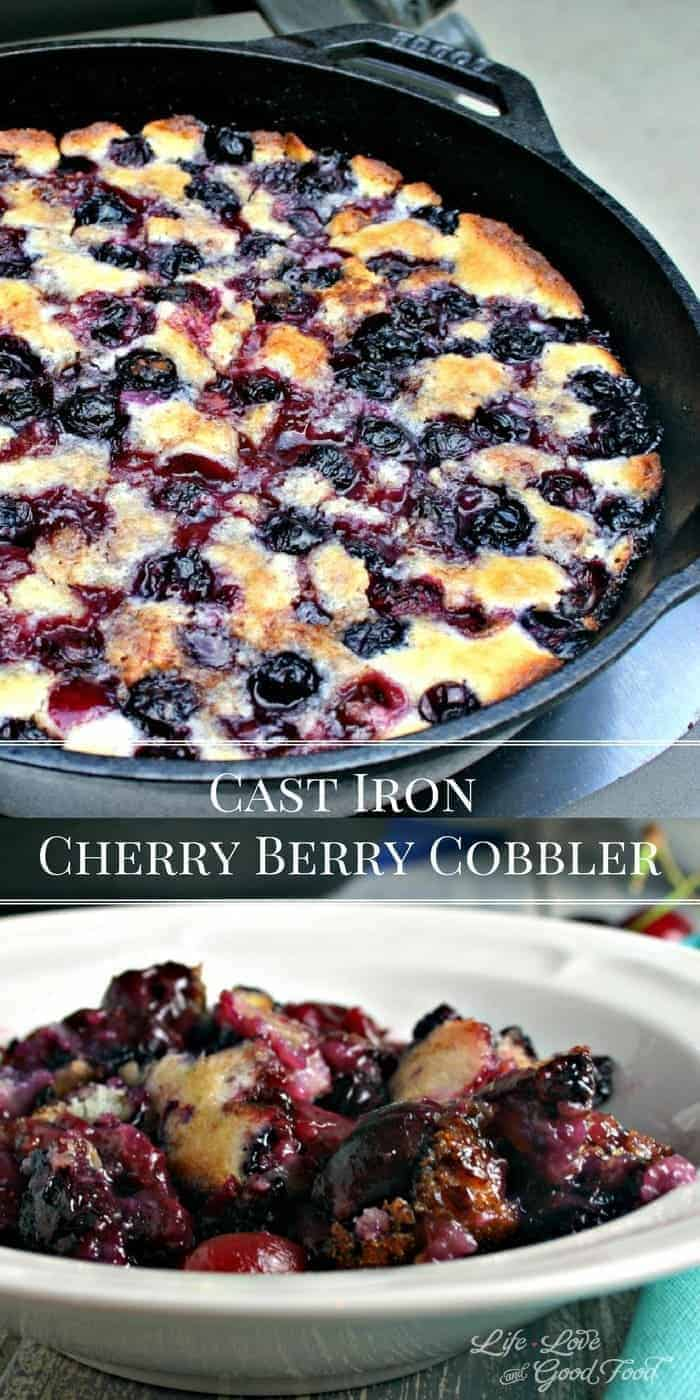 Cast Iron Cherry-Berry Cobbler | Life, Love, and Good Food