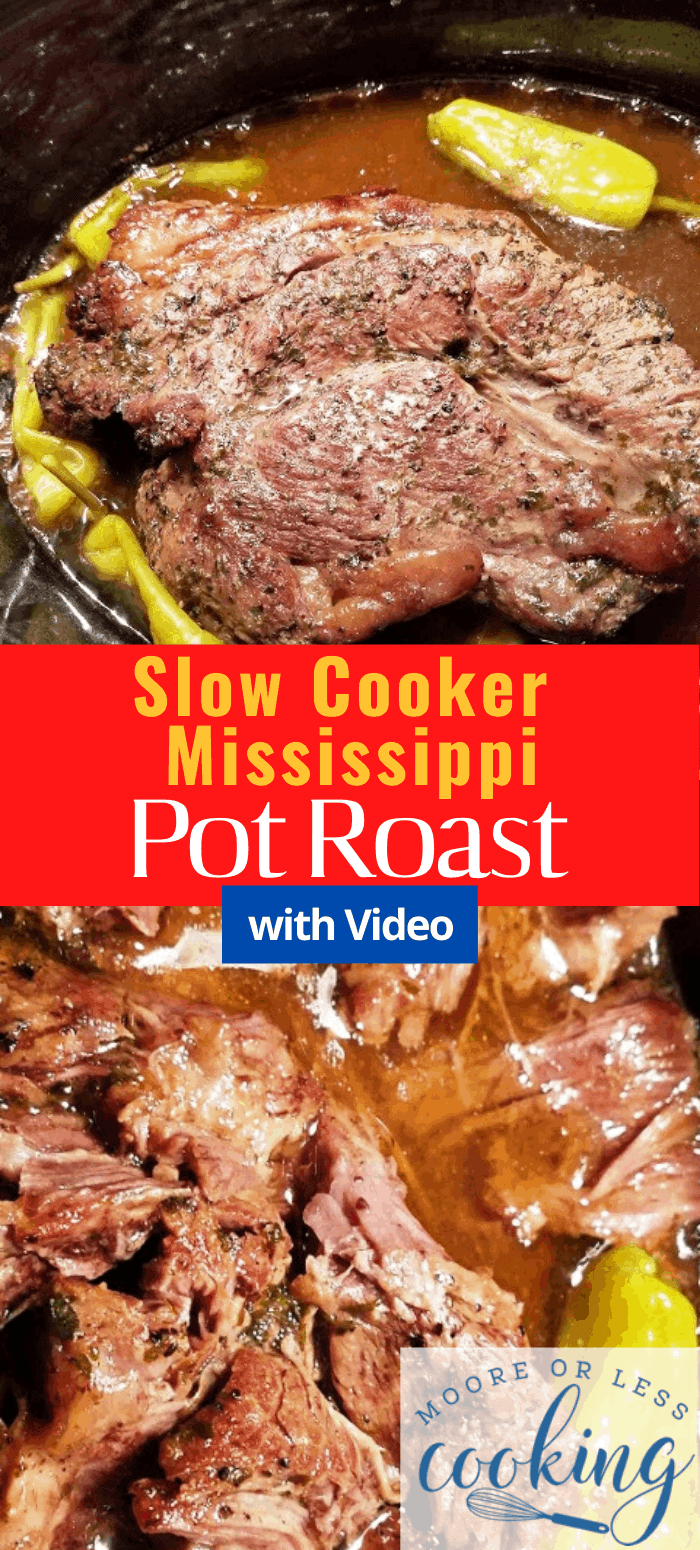 2 images pin whole beef roast Slow Cooker Mississippi Pot Roast, shredded beef
