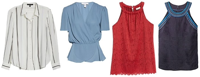 Tops for the inverted triangle shape | 40plusstyle.com
