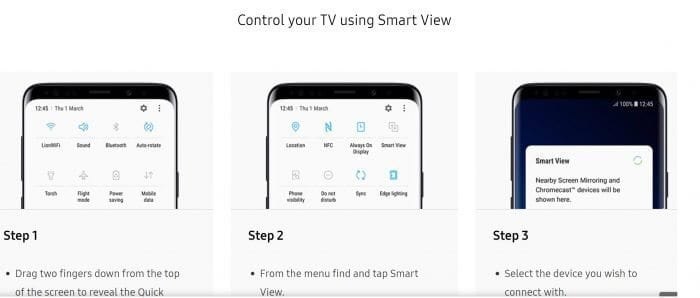 Connect Samsung Galaxy S9 to TV Via Smartview