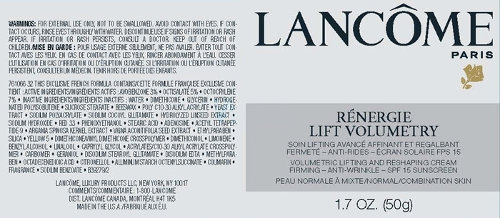 Lancome renergie lift volumetry anti-aging and firming cream ingredients | 40plusstyle.com